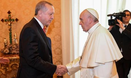 Rome bans protests as Turkish President Erdogan visits Pope Francis