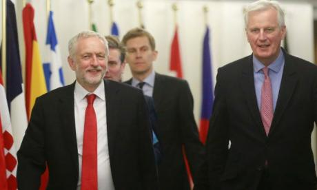Corbyn, seen here meeting EU Brexit negotiator Michel Barnier, has backed membership of 'a customs union' after Britain leaves the EU