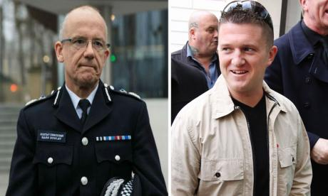 Tommy Robinson (right) has hit back at Mark Rowley for his comments at the Policy Exchange thinktank