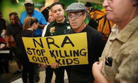 Protestors call for a crackdown on the NRA in the wake of the Parkland school shooting in Florida