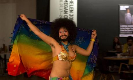 Bearded Egyptian belly dancer protests against treatment of LGBT people