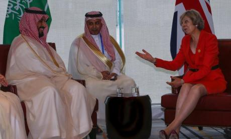Theresa May, seen here meeting a senior Saudi delegation at the G20 summit in 2016, is due to host the Saudi Crown Prince this week