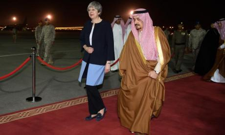 Theresa May seen here during a previous meeting with Saudi leaders. The Saudi Crown Prince is currently visiting the UK