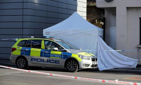 The scene of knife attack in east London