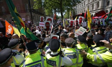 Protests staged at Downing Street as PM prepares to meet Turkish president