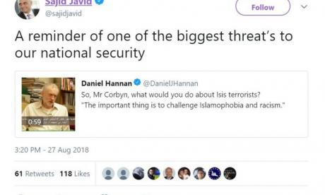 Sajid Javid calls Jeremy Corbyn a 'threat to national security'
