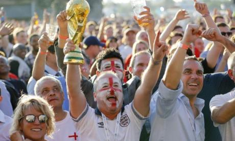 Fans watching England's World Cup game against Croatia in Hyde Park