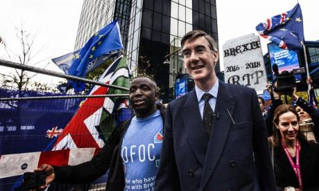 Jacob Rees-Mogg makes appearance at anti-Brexit 'funeral' protest