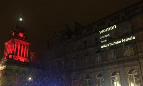 Women's activist Posie Parker projects dictionary definition of woman onto Leeds buildings