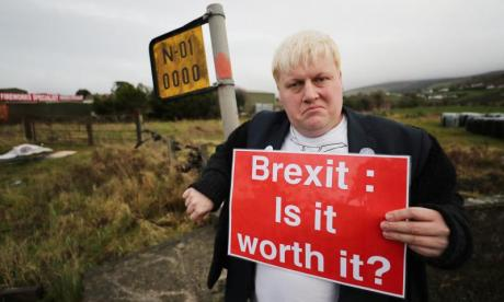 Faux BoJo, the Boris Johnson lookalike, joins anti-Brexit demonstration at Irish border