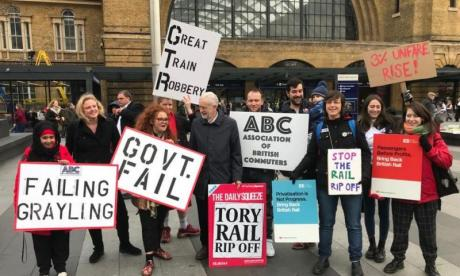 Jeremy Corbyn joins rail fare protesters as Sadiq Khan freezes London transport fares for third year running