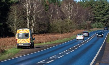 Speed camera van parked near site of Duke of Edinburgh car crash