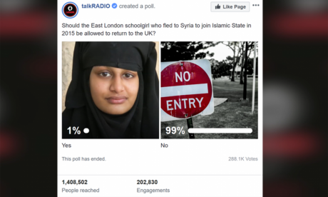 Some 99% of voters say Shamima Begum should not be allowed to return