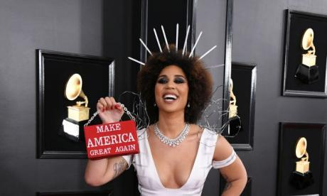US singer dresses as 'Donald Trump's border wall' at Grammys