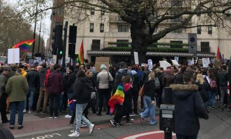 LGBT activists protest outside London hotel over Brunei death penalty