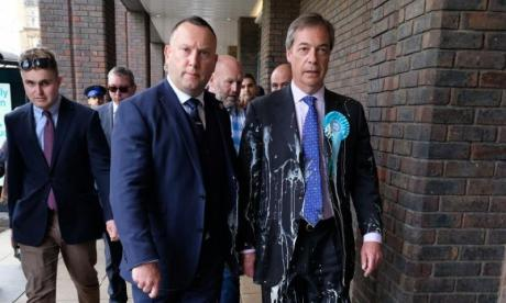 Nigel Farage hit by milkshake during EU election campaign