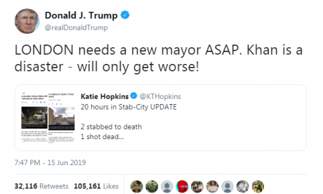 Donald Trump brands Sadiq Khan 'a disaster'