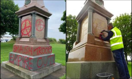 War memorial vandalised with anarchist graffiti